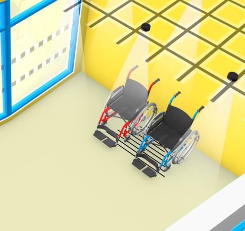 Abstellflächen von Rollstühlen und anderen Hilfsmitteln